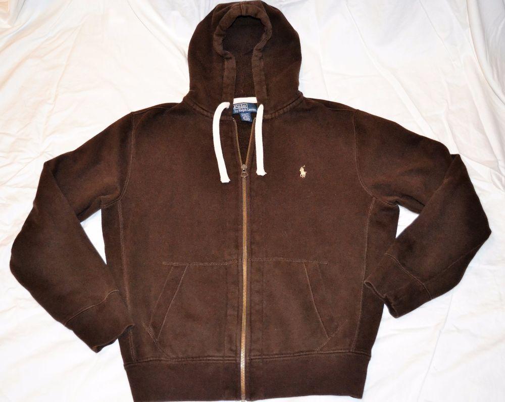 0f24aa689906 Men s Polo Ralph Lauren Brown Zip-Up Fleece Lined Hoodie Sweatshirt Large   PoloRalphLauren  Hoodie
