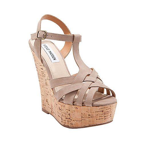 WILDNESS women's sandal high wedge in taupe nubuck Steve