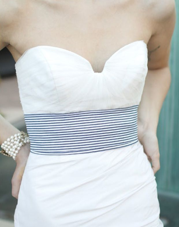 Seersucker Band On A Wedding Dress This Is Actually What I Ve Wanted To Do For Mine But This Is The Seersucker Wedding Nautical Wedding Dresses Preppy Wedding
