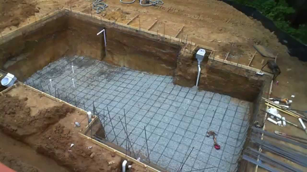 Inground Swimming Pool Building Process Step By Step Building Construction Pinterest