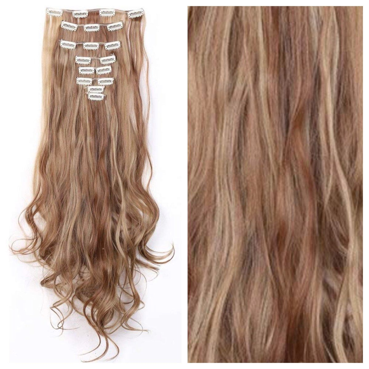 Free Rush Shipping Ginger Brown Hair With Blonde Highlights Clip In Hair Extensions Brown Blonde Hair Blonde Highlights Brown Hair With Blonde Highlights