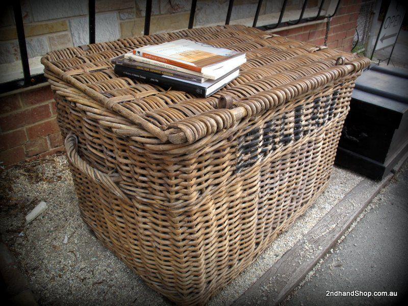 Large Antique Travelling Cane Railways Trunk Ballan Basket