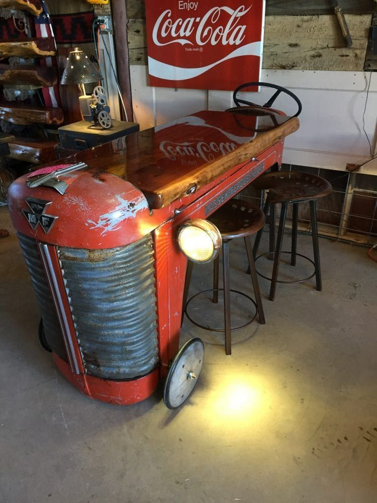 Upcycled Truck Beds Tractor Kitchens Dr Pepper Cooler Bars In 2020 Tractor Decor Vintage Industrial Furniture Automotive Decor