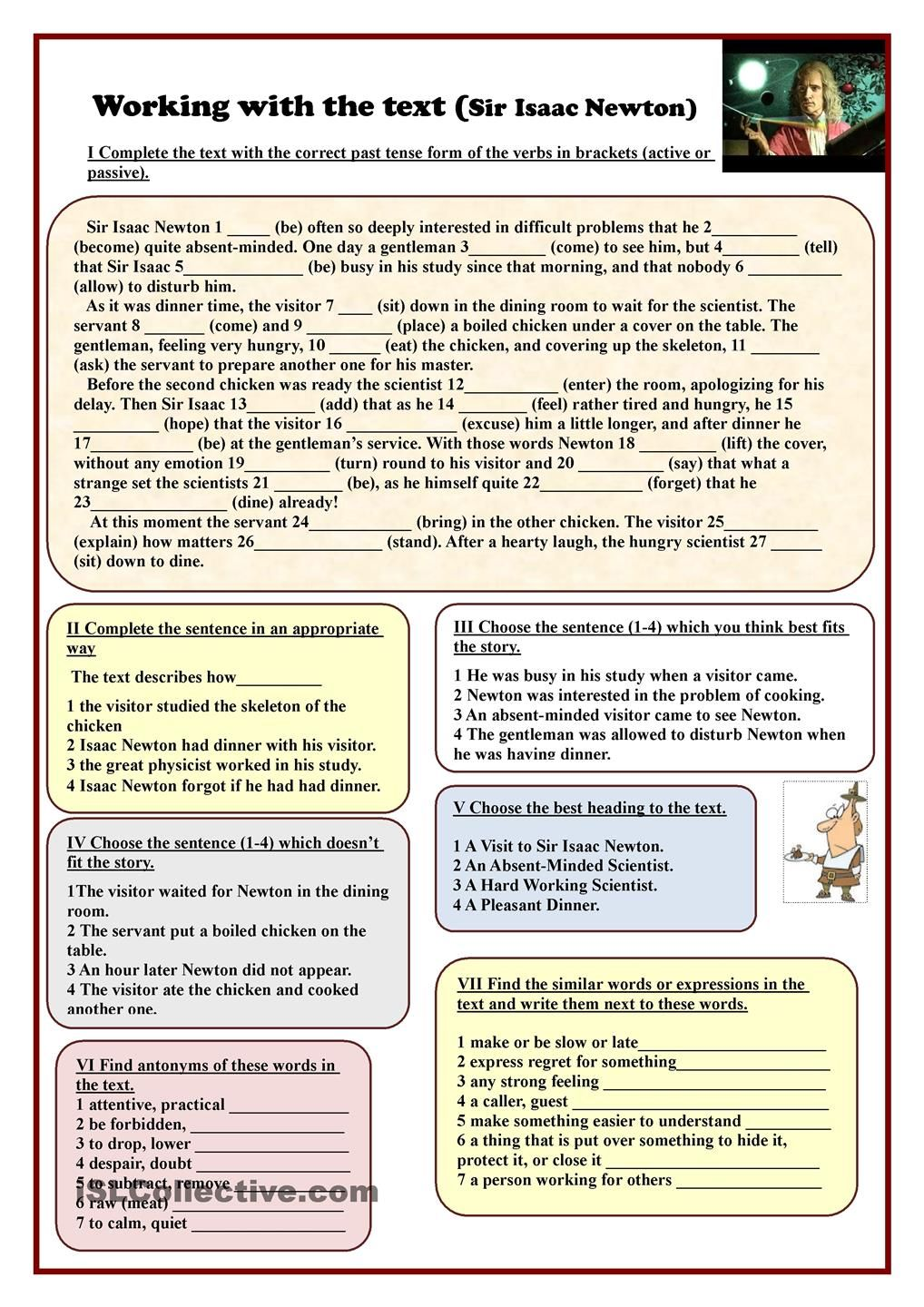Working with the text (Sir Isaac Newton) | ESL worksheets of