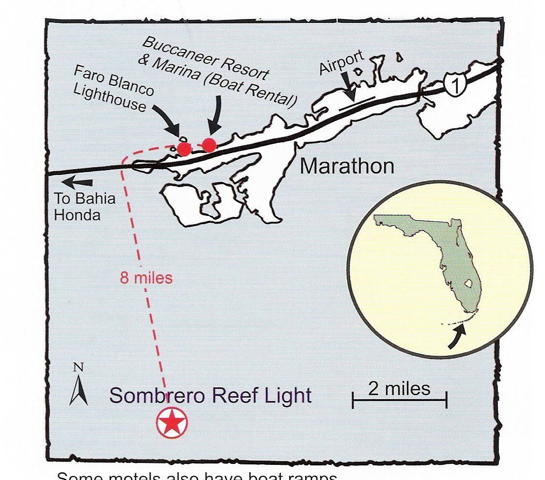 Florida Lighthouses Map.Map To Sombrero Reef Light For Boaters In The Florida Keys