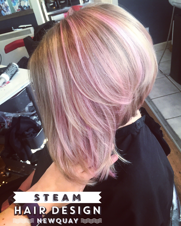 pastel pink blonde ice ash