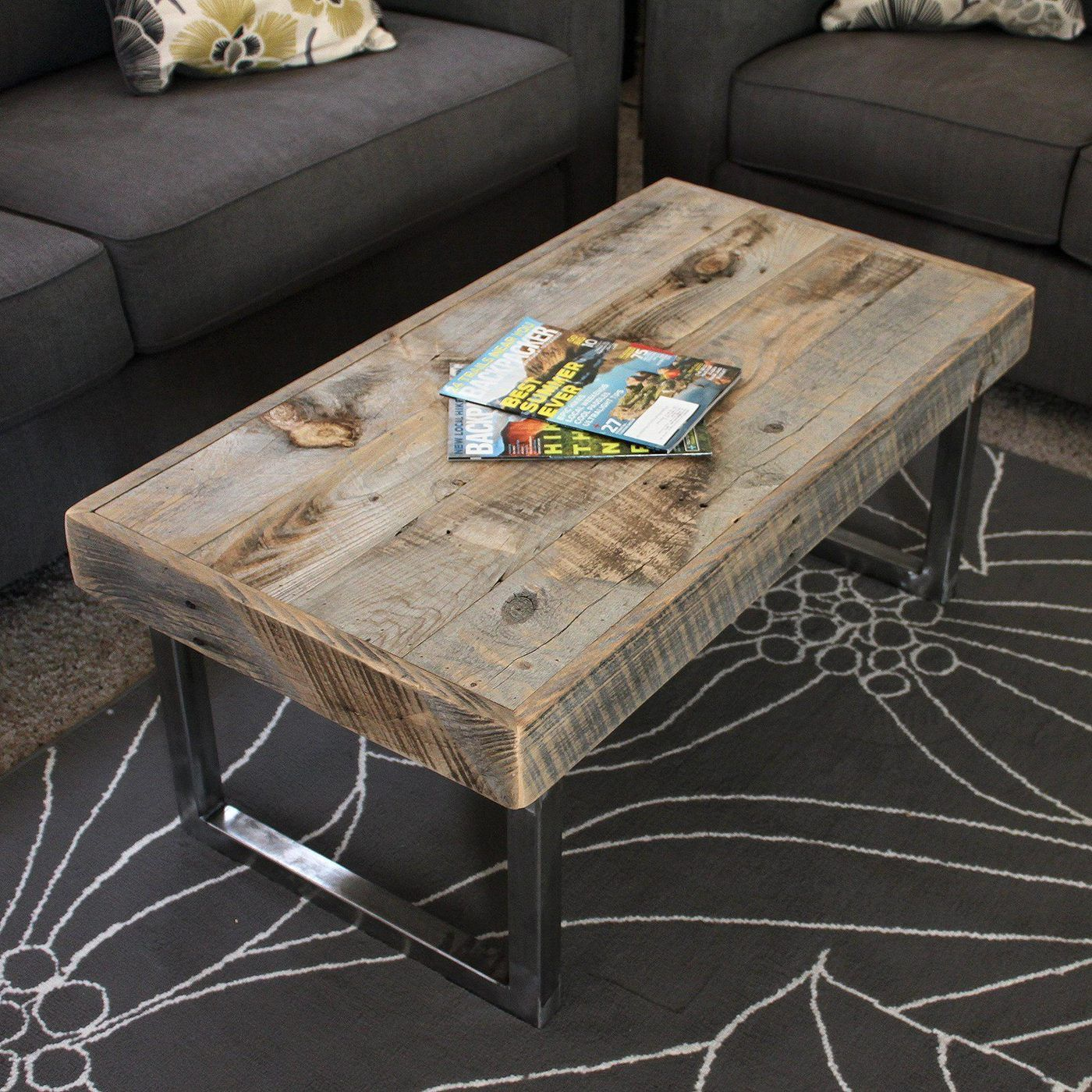 Reclaimed Wood Coffee Table Tube Steel Legs Free Shipping Jw Atlas Wo Mesas De Madera Reciclada Diseno Moderno De Muebles Disenos De Muebles De Dormitorio