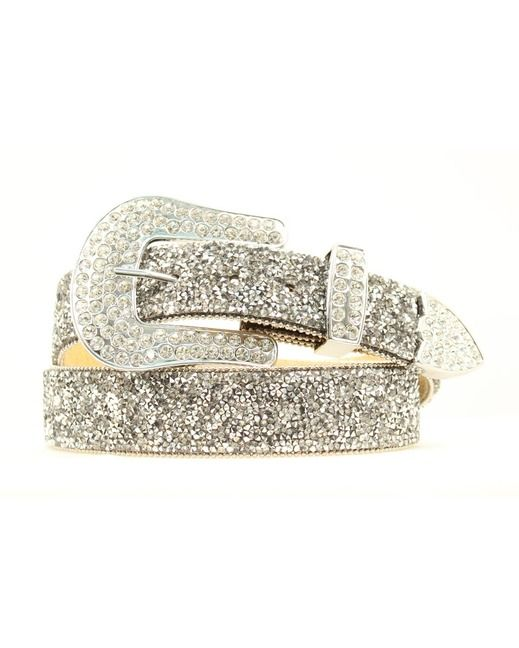 This ladies Ariat belt. Small crystal chips give this belt a ton of stylish bling. The removable buckle makes it customizable for your favorite buckle. Perfect belt for any pair of jeans.