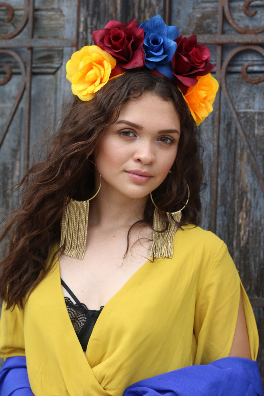 Red blue yellow flower crown headband mexican winter wedding bridal mexican flower crown headband red white green day of the dead mexico hippie mightylinksfo