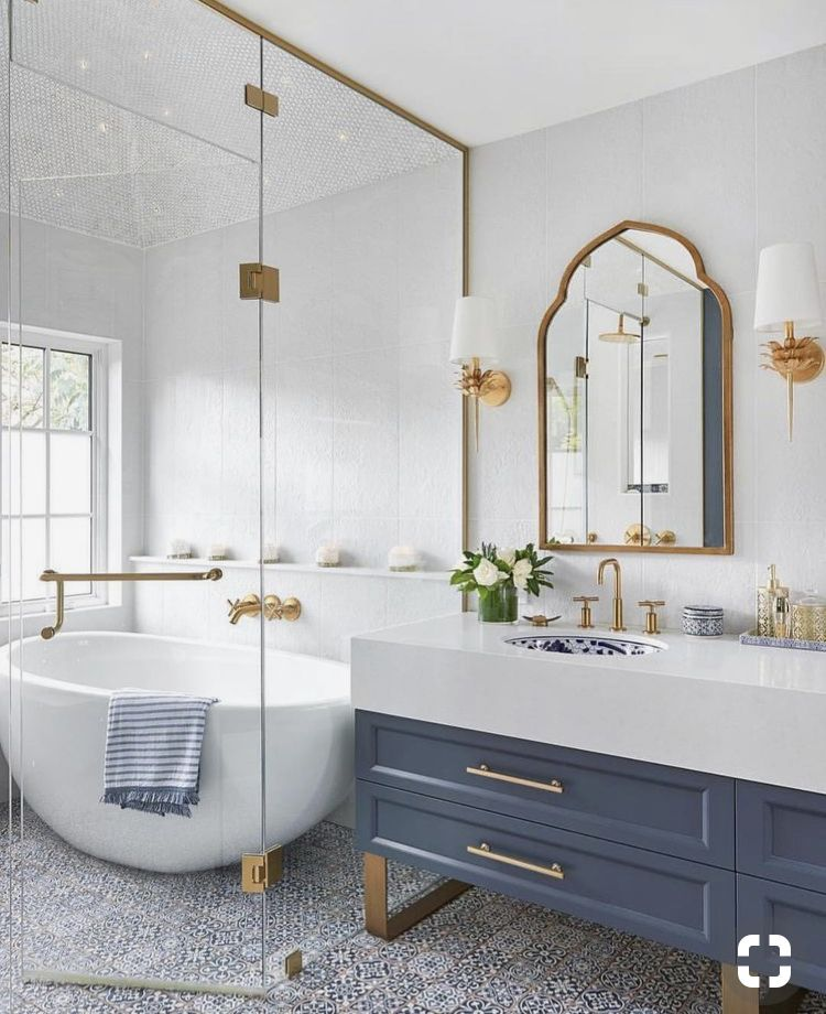 Blue Bathroom Cabinets With Gold Drawer Fixtures Modern Free
