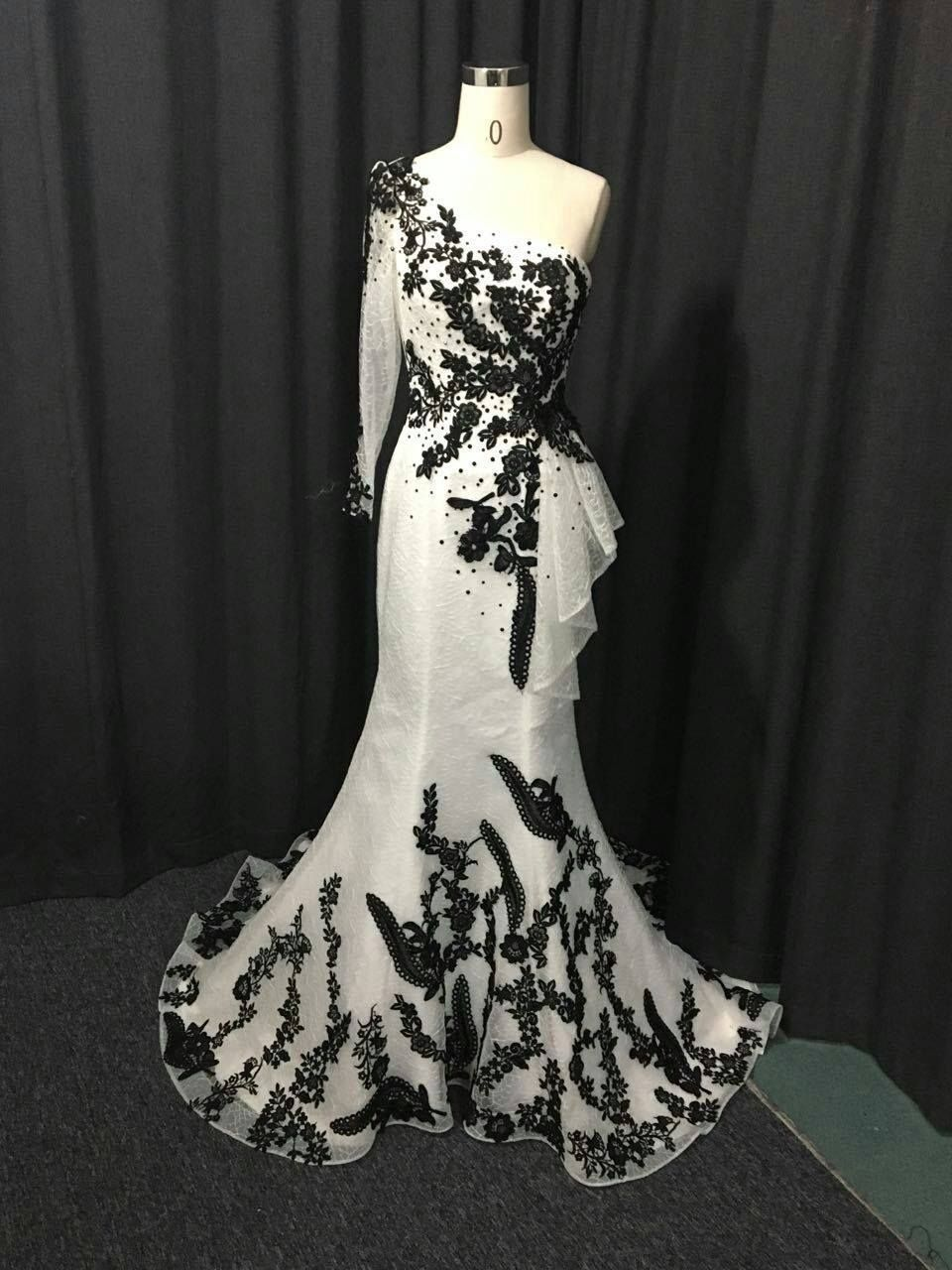 One Arm Black and White Evening Gowns from Darius Couture   Formal ...