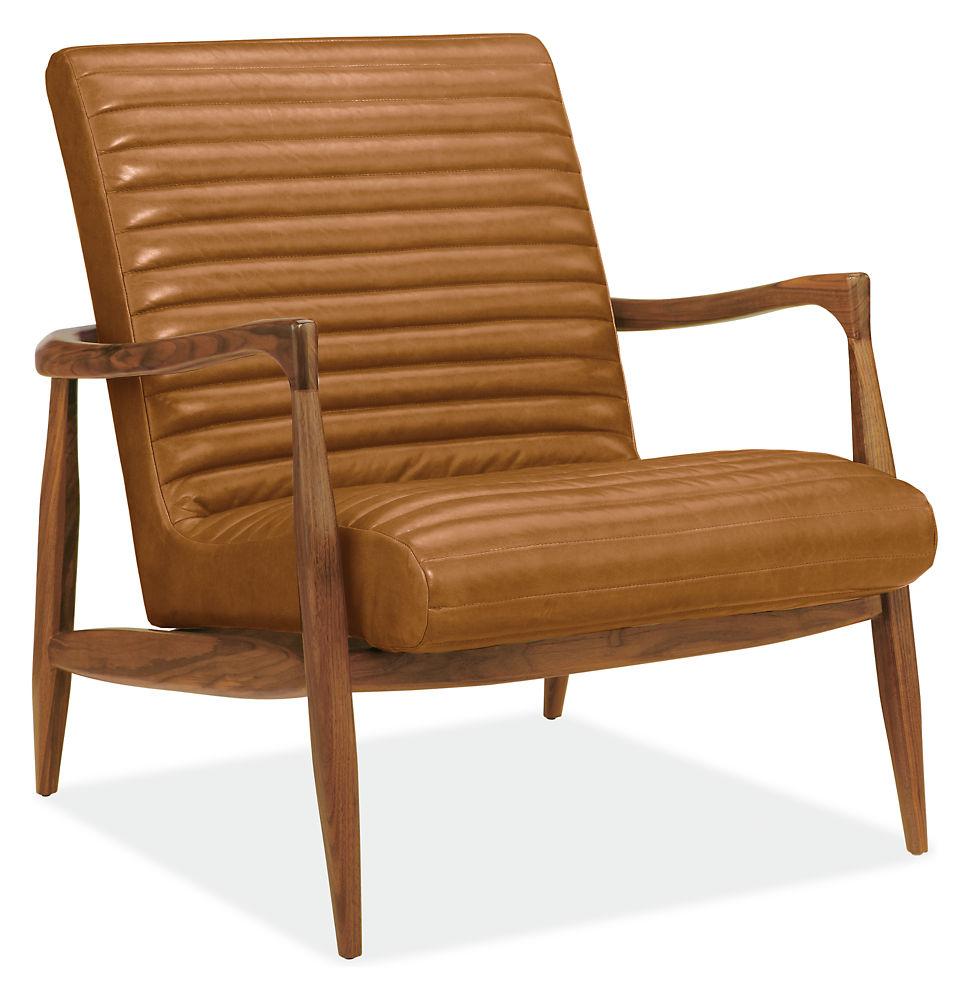 Callan Leather Chair & Ottoman Modern Accent & Lounge