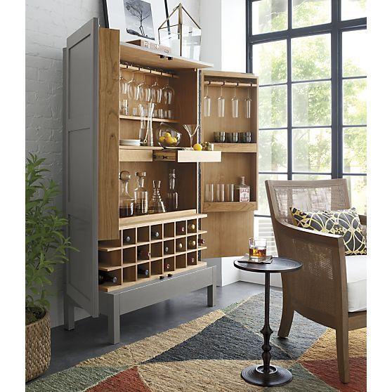 Victuals Grey Bar Cabinet Crate And Barrel Home Bar