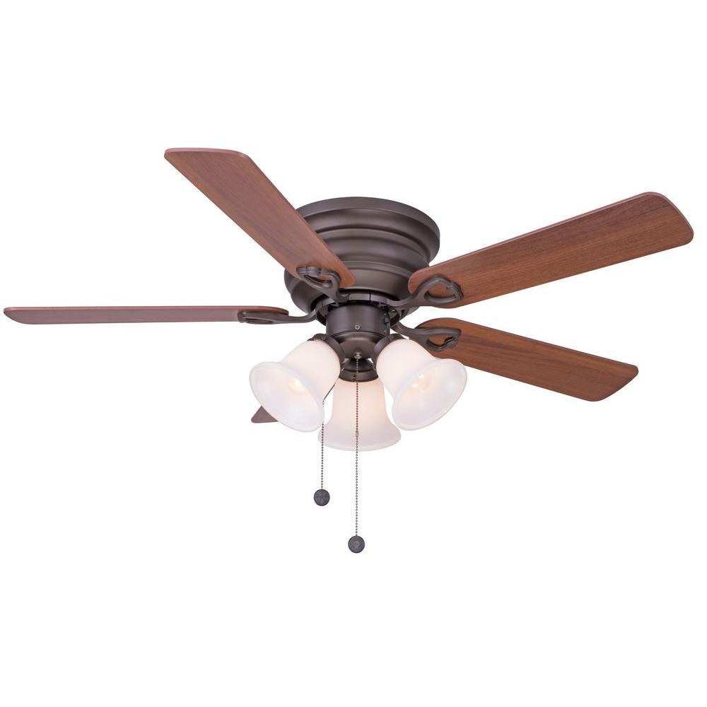 Clarkston 44 In Oiled Rubbed Bronze Ceiling Fan With Light Kit Cf544h Peh The Home Depot