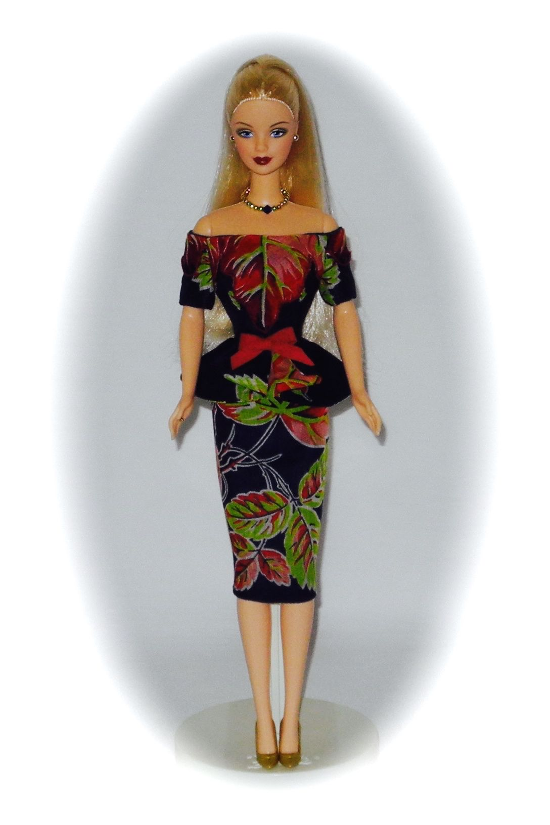 Ring In The New Year Barbie Doll wearing OOAK Hankie Chic