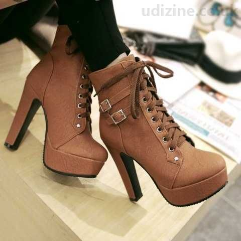 Women's Stylish Solid Round Toe Lace Up Chunky High Heel Winter Boots