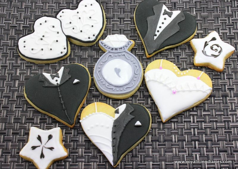 Engagement cookies – black and white hearts | Royal Icing Diaries