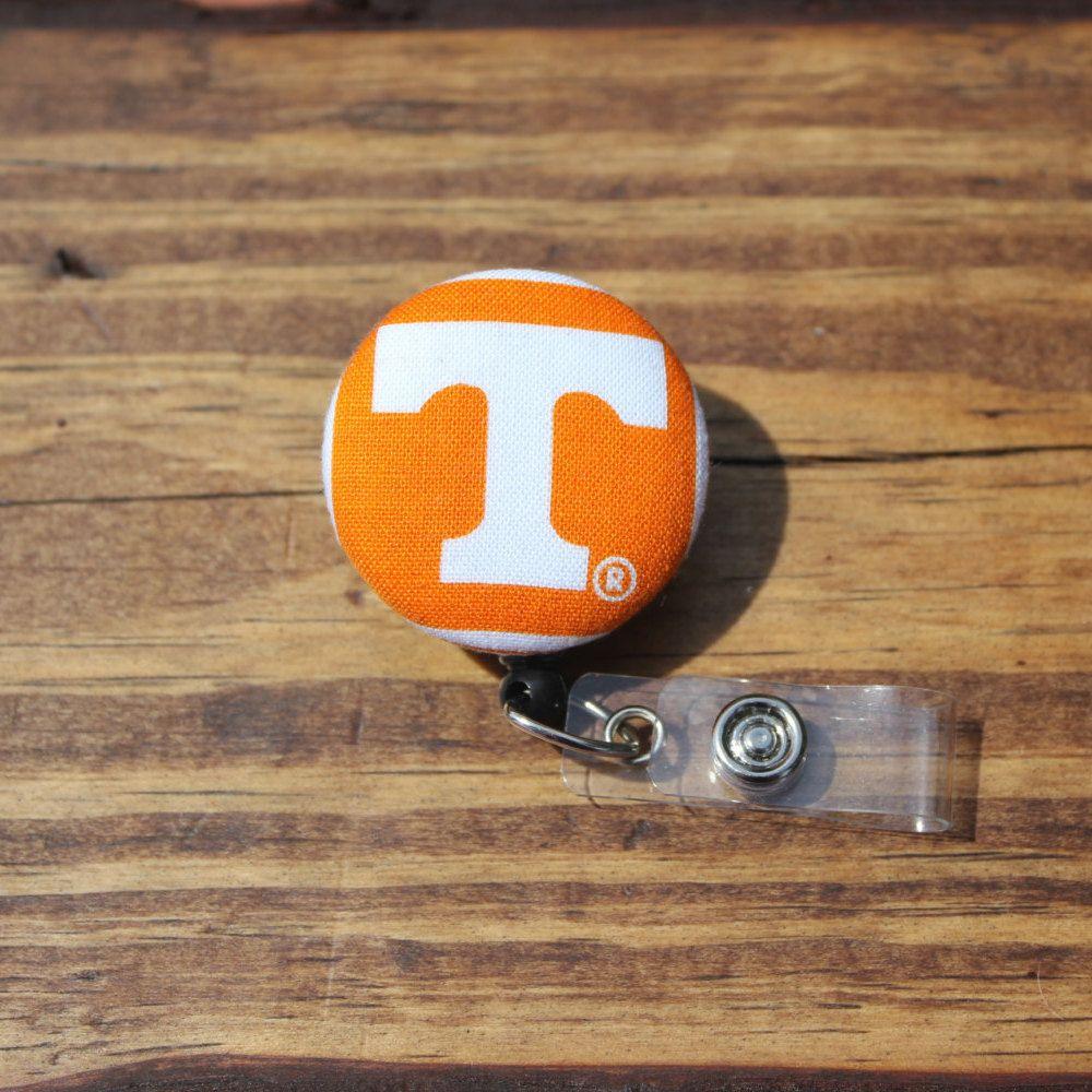 Tennessee Vols, Volunteers, Football, ID holder, Retractable, Swivel Clip, Football,RN, CNA, Coach, Teacher, Fabric Badge by TheNerdyFatCat on Etsy