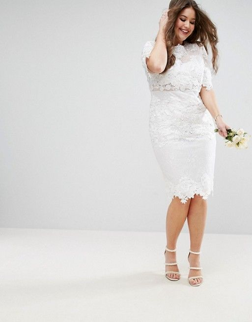 bb98a46eaf0 EDITION Curve Lace Embroidered Midi Wedding Dress