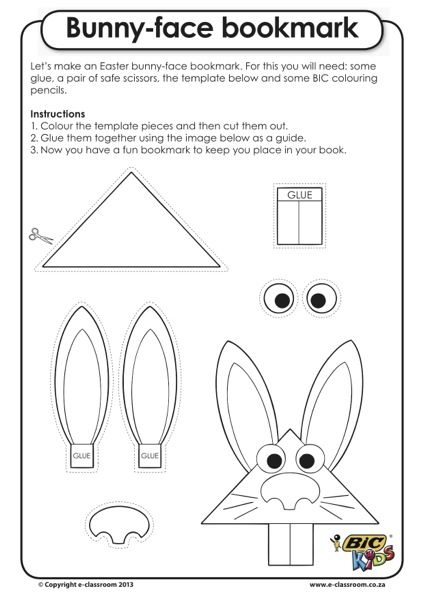Easter Craft Bunny Face Bookmark Easter Printables Free Easter
