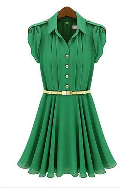 A Line Button Decoration Green Chiffon Shirt Dress