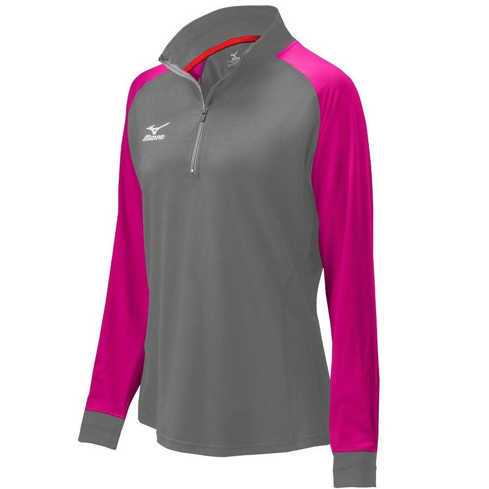 Mizuno Womens Volleyball Apparel Prime 1 2 Zip Jacket 440574 Size Extra Small Charcoal Shocking Pink 92 Jackets For Women Charcoal Color Volleyball Jacket