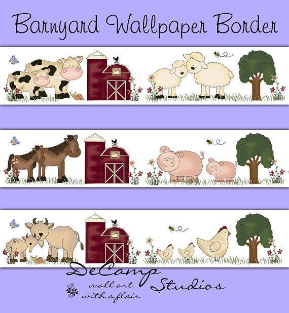 Barnyard Farm Animals Wallpaper Border Wall Decals For Baby Girl - Barnyard nursery wall decals