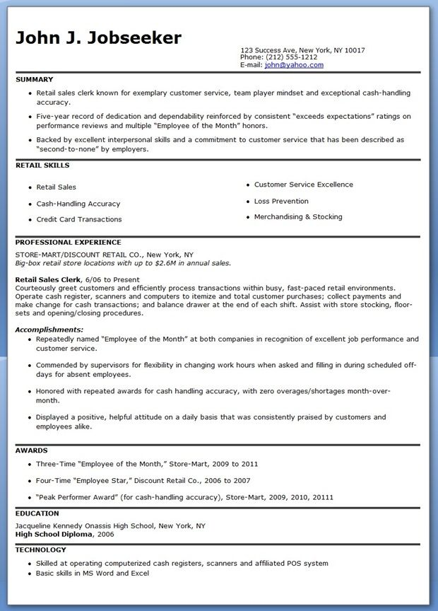 Retail Store Associate Resume Sample Resumes/Job Search Tips