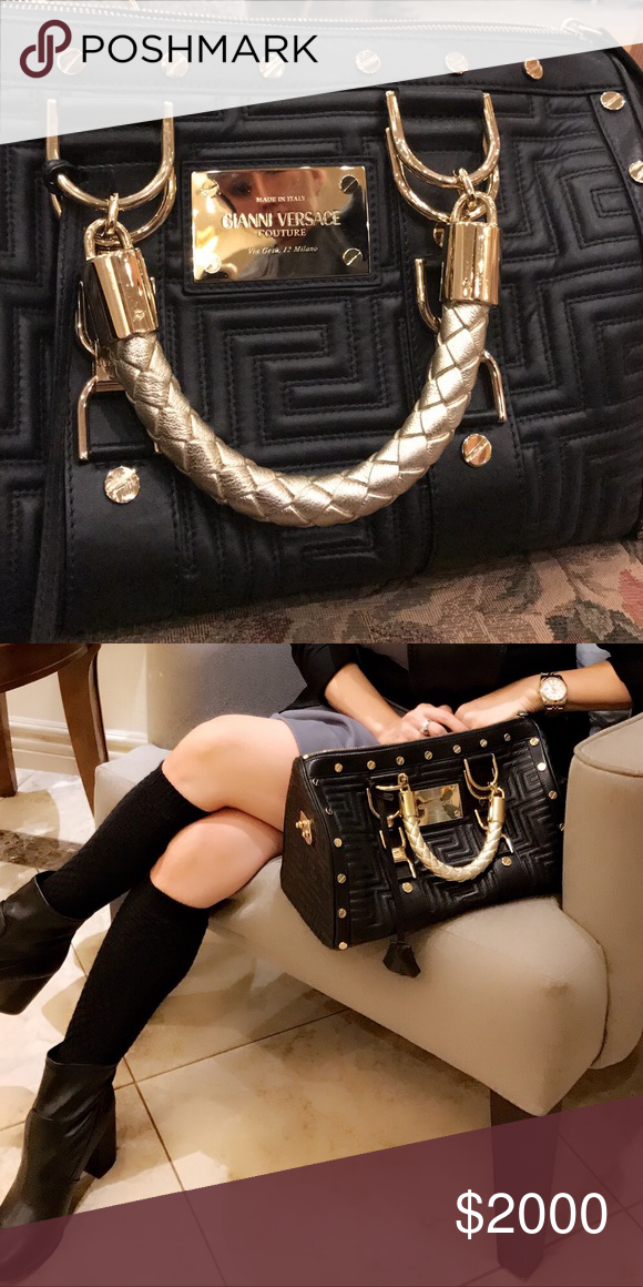 2ff89182bddd0b Gianni Versace Medusa Madonna Leather Bag Preloved Beautiful excellent  condition preloved Gianni Versace Madonna Leather Handbag color: Navy Blue  with Gold ...