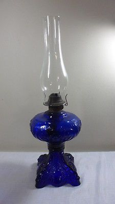 Lighting Antique Cobalt Blue Hurricane, Cobalt Blue Hurricane Lamp