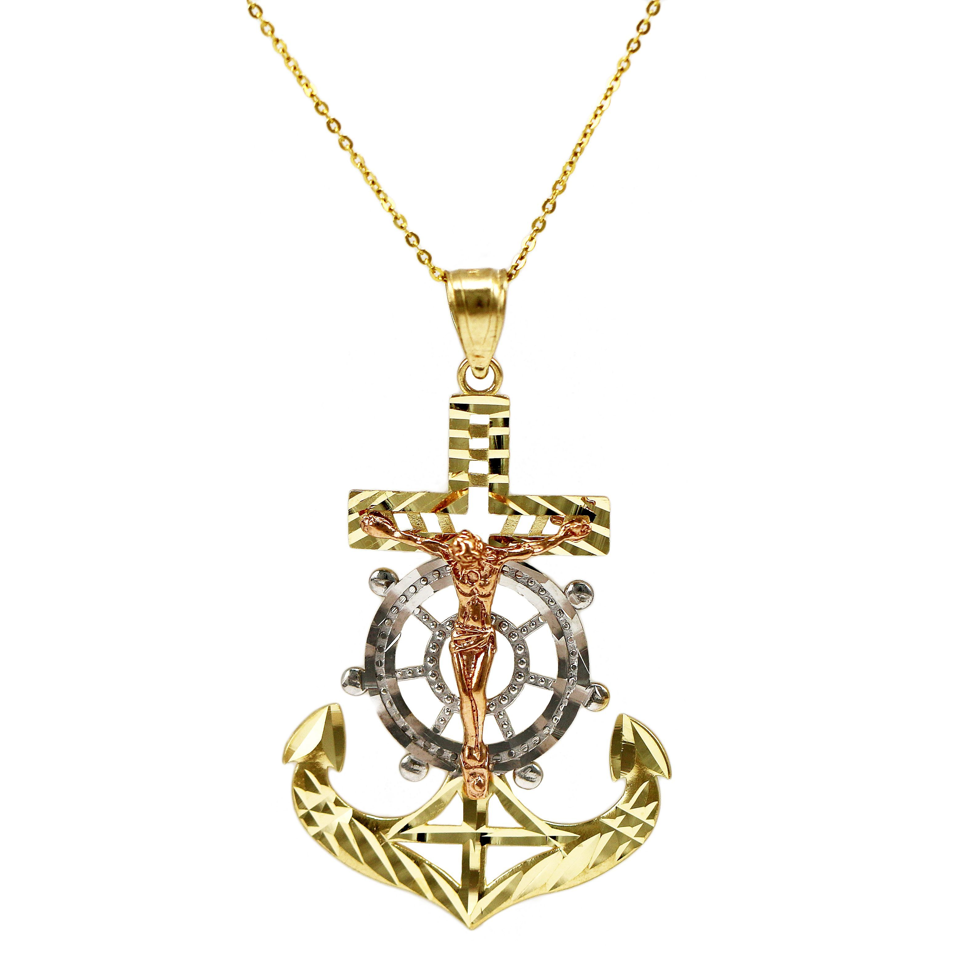 14k Tricolor Gold Nautical Jesus Necklace 20 inch mariner link