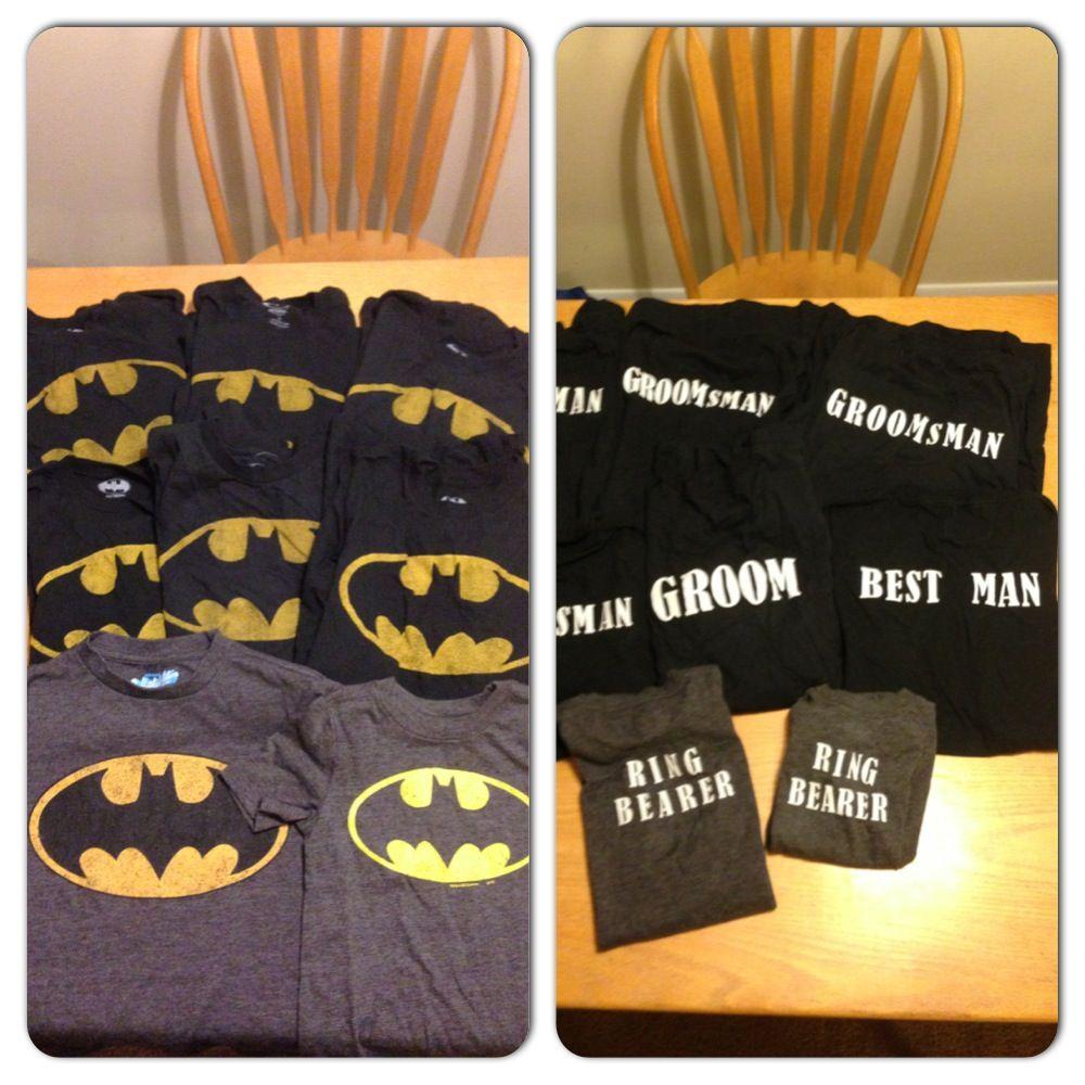 batman wedding ring DIY our groomsmen ring bearers batman shirts