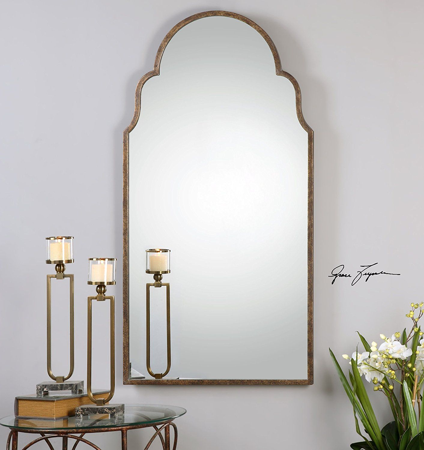 Amazon.com: Full Length Shaped Arch Wall Mirror | Curved Tall ...