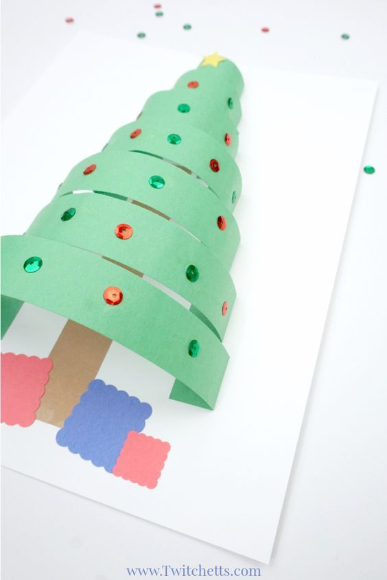 3d Paper Christmas Tree Christmas Crafts For Kids Construction