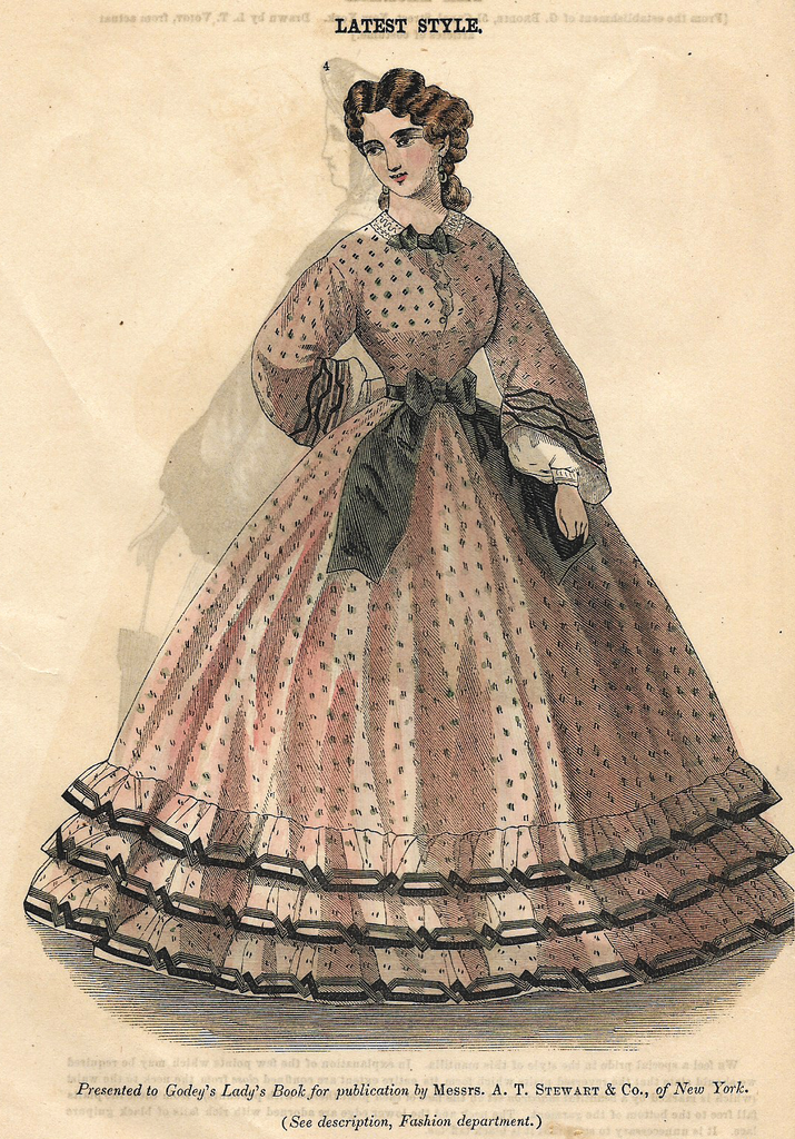 """Godey's Fashion Plate - c1860 - """"LATEST STYLE - DRESS"""" - H-C Lithograph"""