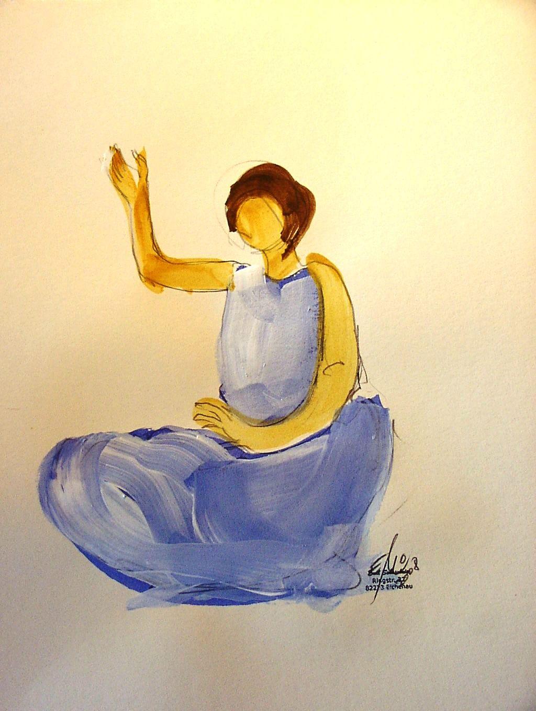 """""""Blaue Bewegung"""" Painting by Emo Schuschnig"""