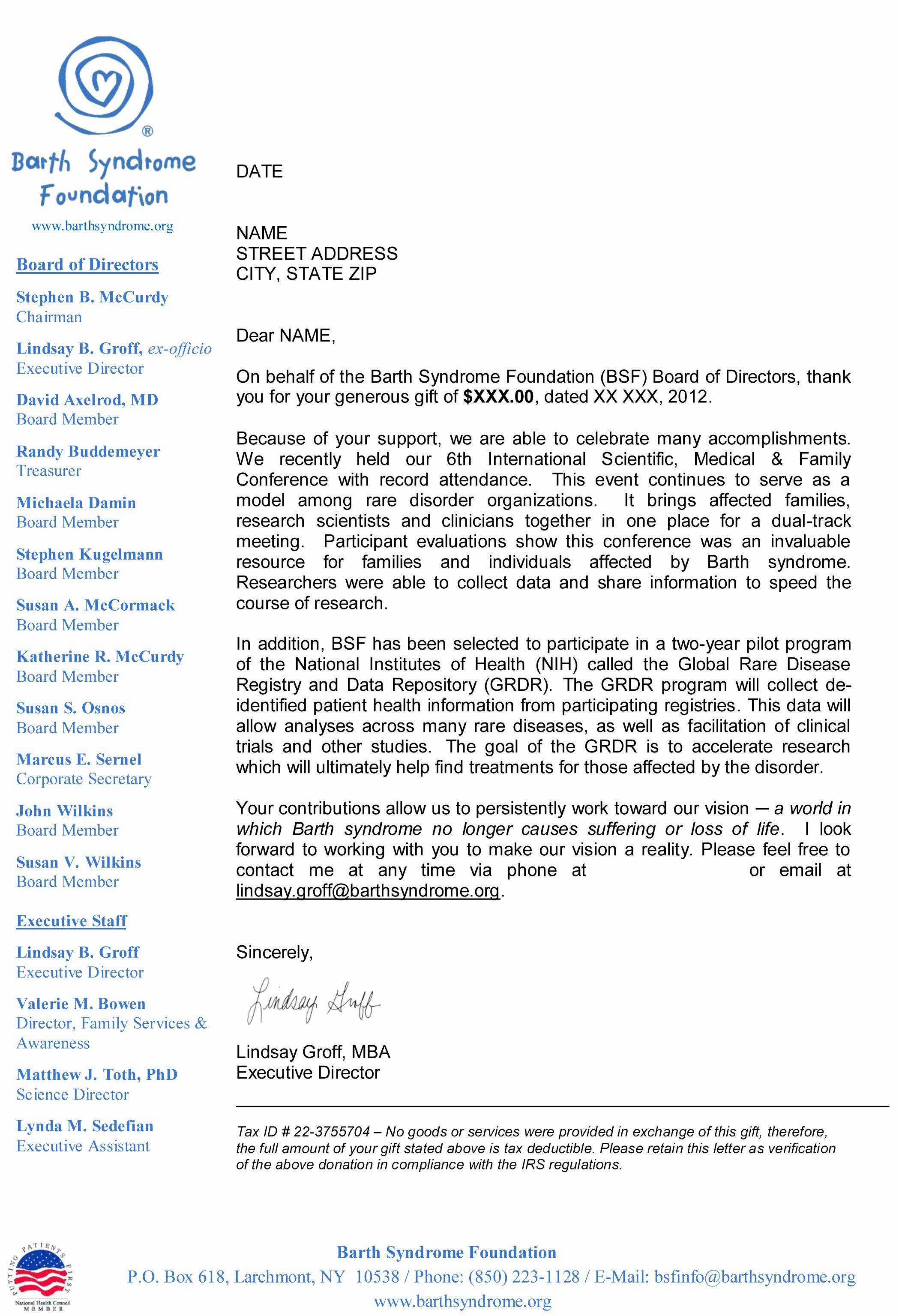 40 Sample Nonprofit Gift Acknowledgement Letter Business Letter