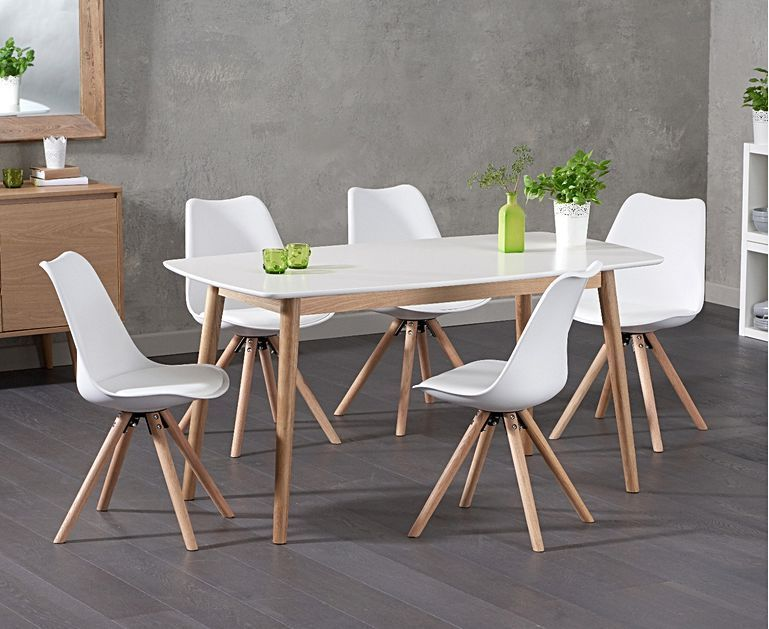 Nordic 150cm Oak And White Dining Table With Oscar Faux Leather