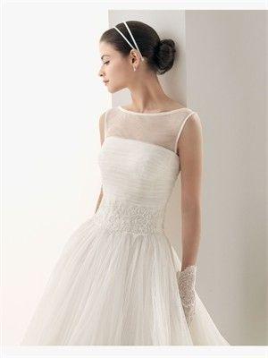 White A-line Bateau Chiffon 2014 Wedding Dress