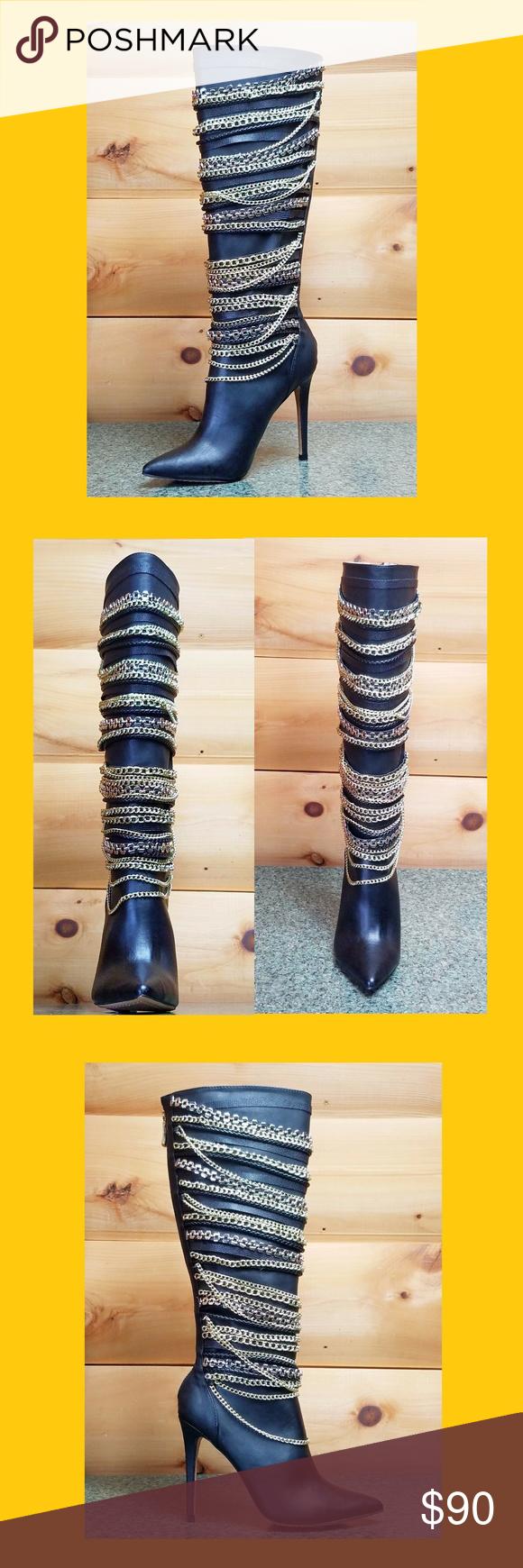 Beverly Black Velvet Floral Gold Embroidered Silver Sequined OTK High Heel Boots