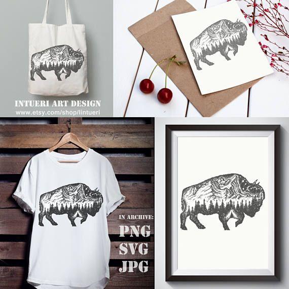 Bison Tattoo Art Bison Svg Buffalo Bull Travel Symbol Adventure