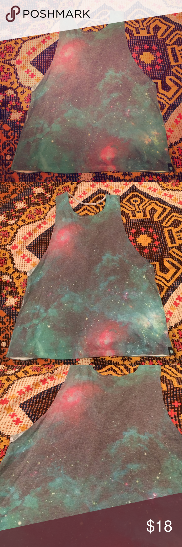 Kendall & Kylie Cosmic Print Muscle Tee Used - W/O tags. Got this tank top awhile back at PacSun ☀️ and absolutely LOVED everything about it 😍!! Super comfortable top, I just never wear it anymore 😭. Used and loved, but with NO signs of wear - in excellent condition! Price negotiable. Just offer! Kendall & Kylie Tops Muscle Tees