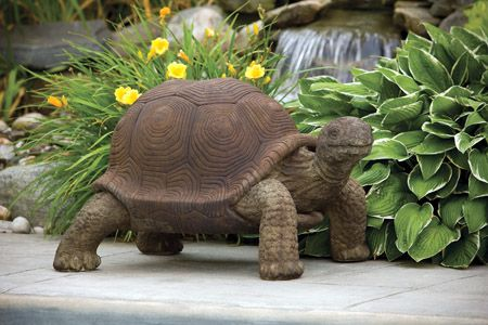 outdoor garden statues. Lawn Ornament Animal Turtle Statue - Giant Tortoise Concrete Outdoor Garden Statues