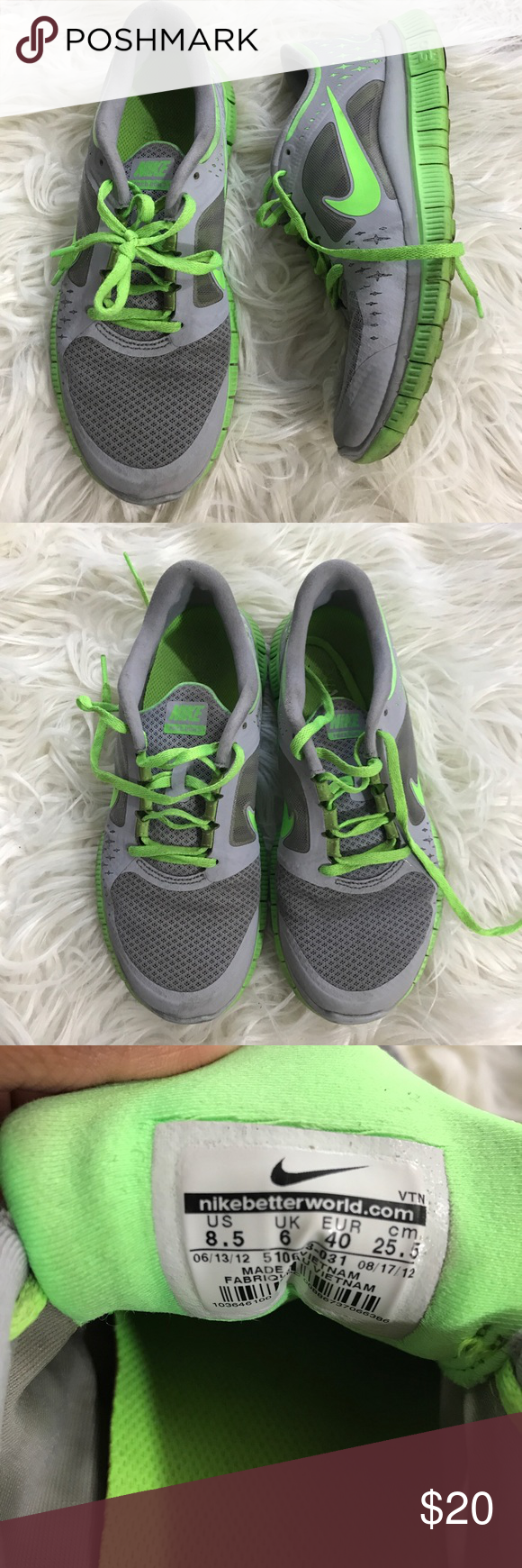 1c861677c881 Nike free run 3 grey green running shoes 8.5 Nike women s free run 3 wolf  grey electric green running shoes size 8.5. Has wear and tear (see photos)  but in ...