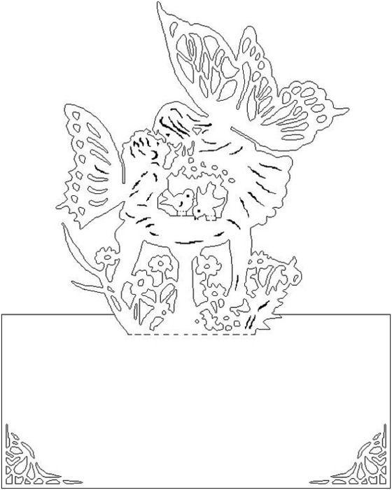 Детей, киригами схемы шаблоны открытки