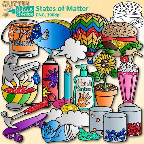 States Of Matter Clip Art Solids Liquids And Gases Glitter