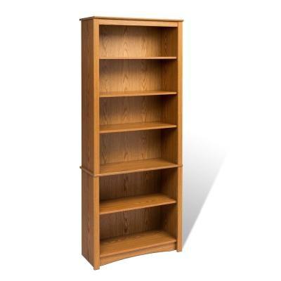 Prepac 77 In Oak Wood 6 Shelf Standard Bookcase With Adjustable Shelves Odl 3277 K In 2020 Bookcase Adjustable Shelving Bookcases For Sale