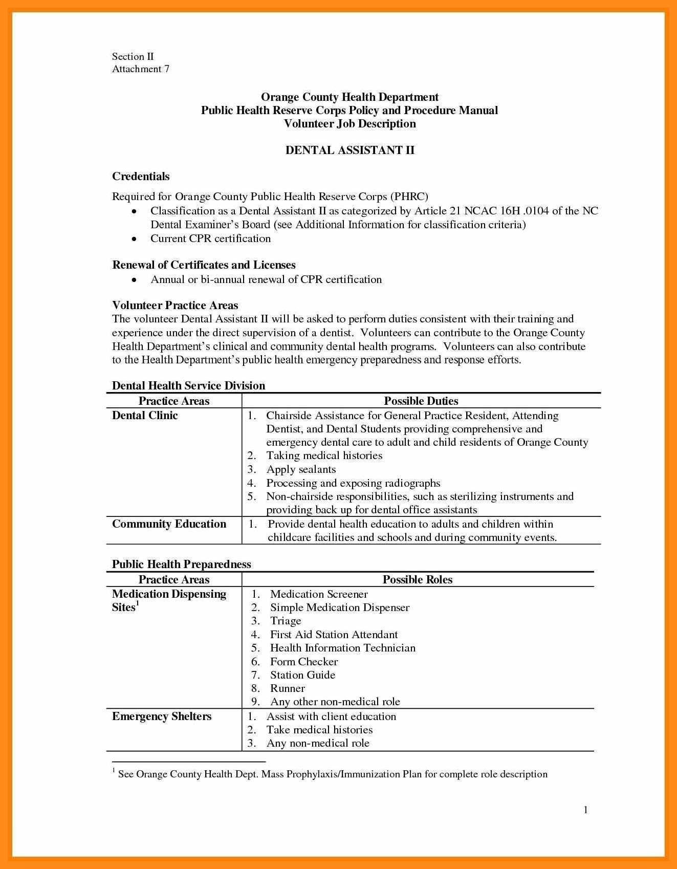 Dental assistant Job Description for Resume the Best 12 13