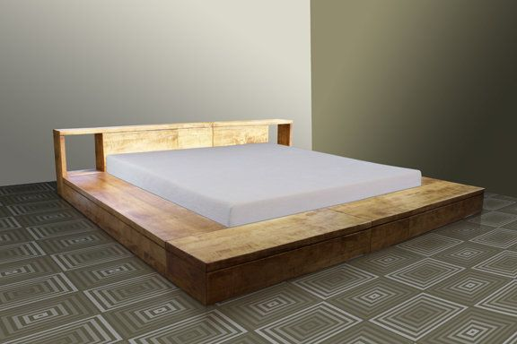Convertible Bed - Utilizing the same extension slides that allow leaves to be inserted into a dining table, this bed can be expanded from Queen size to King size.