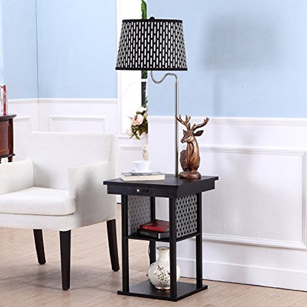 Led Floor Lamp With Table Shelf 2 Usb Ports Us Standard Outlet Living Room Decor